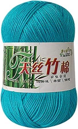 Ovillo de lana de bambú para tejer, de algodón suave, creativo, color sólido, 100% bambú, cálido y natural, 50 g Colour A1: Amazon.es: Hogar
