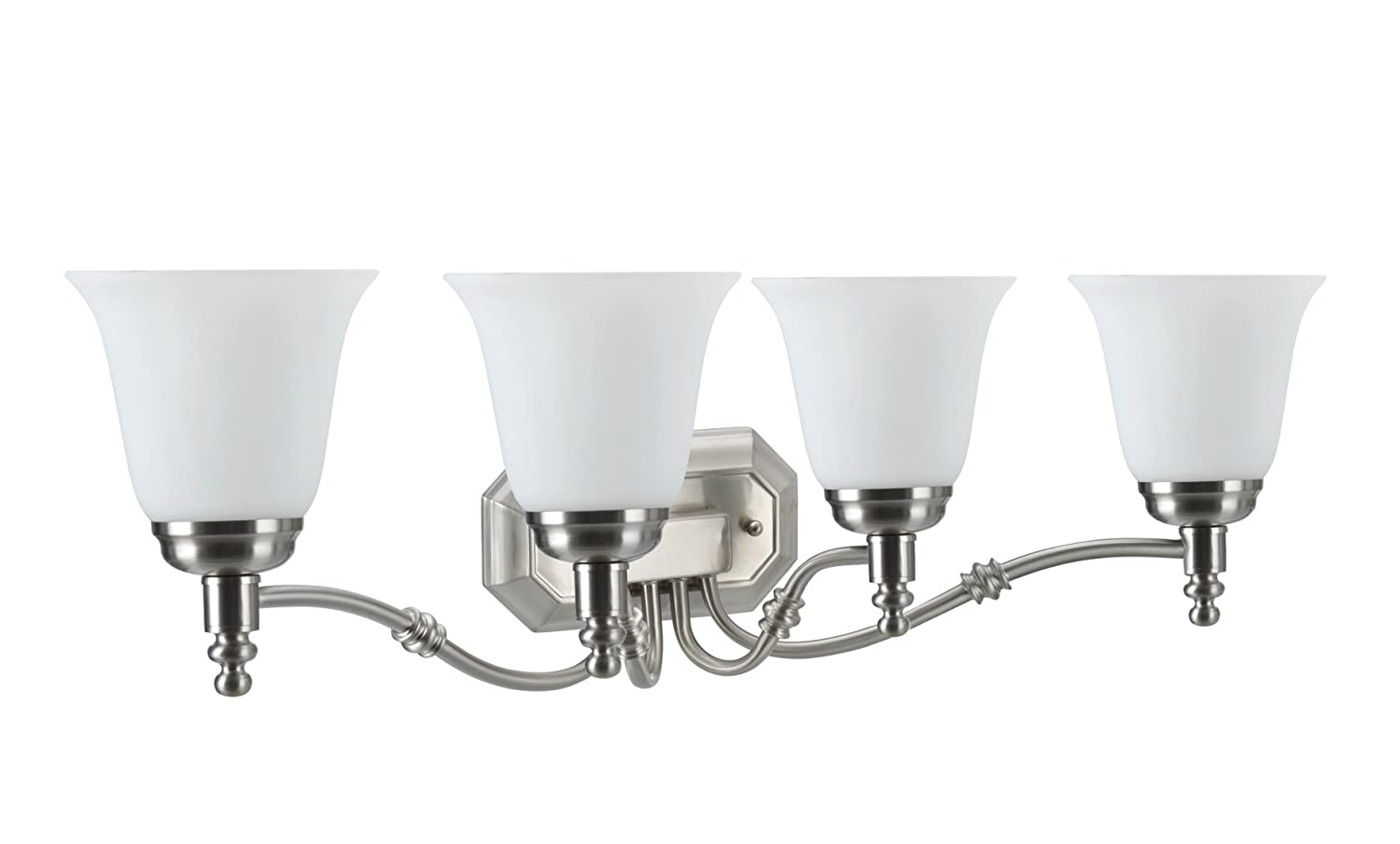 Transitional Design in Oil Rubbed Bronze with Frosted Glass Shade 30 Wide Four-Light Metal Bathroom Vanity Wall Light Fixture Aspen Creative 62023-1
