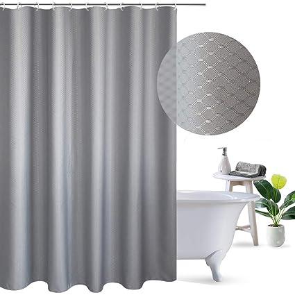 UFRIDAY Shower Curtain 72 X Gray Waffle Weave Pattern Design Heavy Duty Fabric