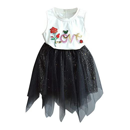 a06ef4439 Amazon.com: Riverdalin Toddler Kids Baby Girls Summer Skirt Outfits Sets  Letter Print T-Shirt Tops+ Sequin Tutu Skirt Dress Outfits Sets: Clothing