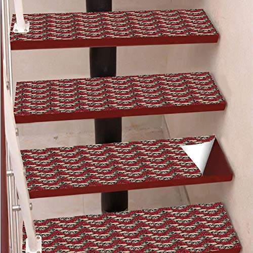 3D Print Non-Slip PVC Stair Pads,Self-Adhesive Steps Sticker,Staircase Treads Protector,Graphic Skulls and Red Rose Blossoms Halloween Inspired Retro Gothic Pattern,for Home Decoration(9.8X39 inch) Se]()