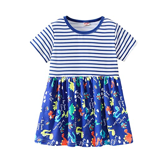 03231b5f9c43e Amazon.com: Lisin Toddler Kids Baby Girl Dress Short Sleeve Cartoon Print  Princess Striped Dress Sundress Summer: Clothing