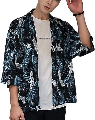 LaoZanA Hombre/Mujer Camisa Kimono Estilo Japonés Estampado Holgado Cárdigan: Amazon.es: Ropa y accesorios