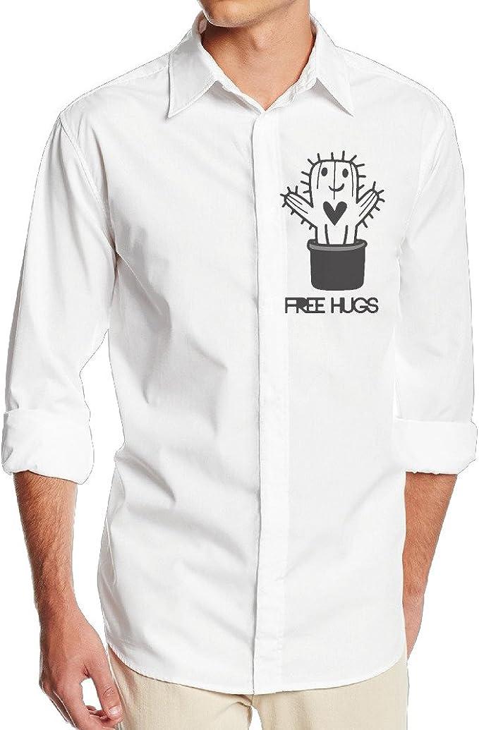 boss-seller Hombres Casual de cactus de Free Hugs Camiseta de manga larga vestido de color blanco: Amazon.es: Ropa y accesorios