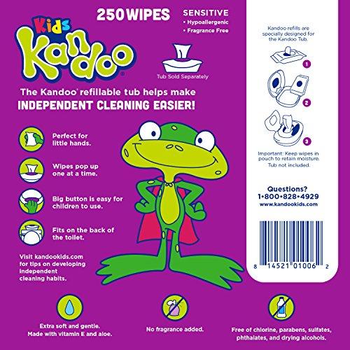 Flushable Baby Wipes for Kids, Sensitive by Kandoo, Hypoallergenic Potty Training Wet Cleansing Cloths Refills, Unscented, 250 Count per Pack, Pack of 4 by Kandoo (Image #2)