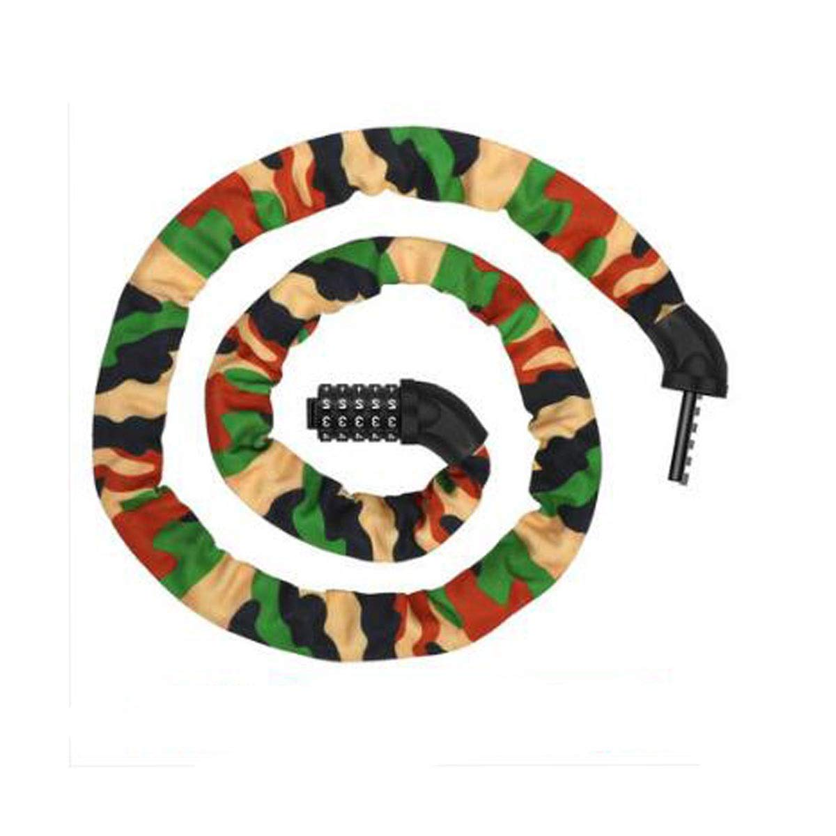 8haowenju Bicycle Chain Lock, Bicycle Safety Lock with 5-Digit Combination Lightweight Bicycle Lock, Size: 60 Inches (Length) 0.5 Inches (Diameter), Color: Multi-Colored