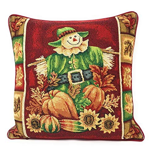 Tache Sunflower Field Scarecrow Thanksgiving Autumn Harvest Country Farmhouse Vintage Decorative Woven Tapestry Cushion Throw Pillow Cover, 16 x 16, 1 Piece 1PC11712-CC