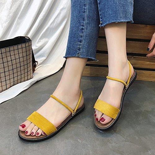 de Fondo Damas cómodos Toe de Antideslizante de Playa a Zapatillas Verano Dos Maneras Plano Zapatos Moda de YMFIE vestirse Simple qIwfEzF