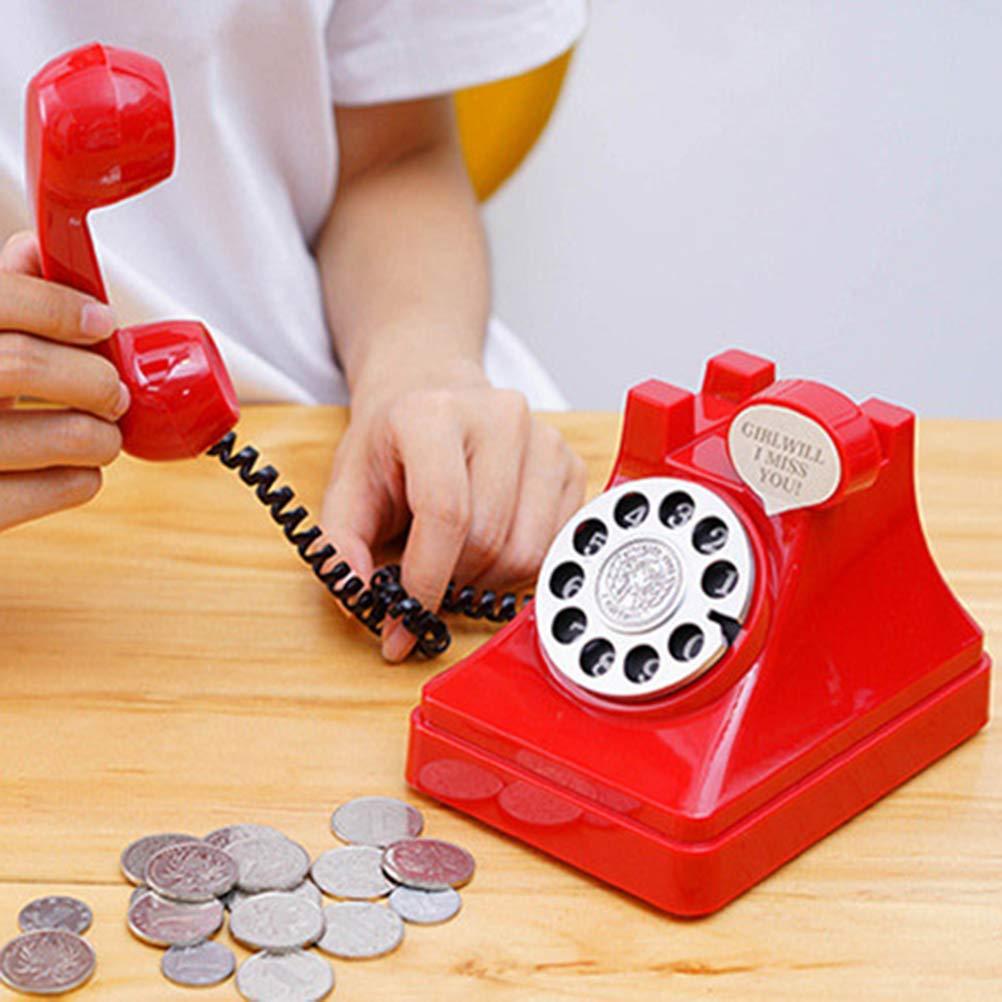 TOYANDONA Tirelire Forme de T/él/éphone Vintage R/étro Cadeau danniversaire pour Enfants Adultes Rouge