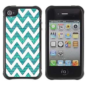 Suave TPU GEL Carcasa Funda Silicona Blando Estuche Caso de protección (para) Apple Iphone 4 / 4S / CECELL Phone case / / Native Teal Pattern Vintage /