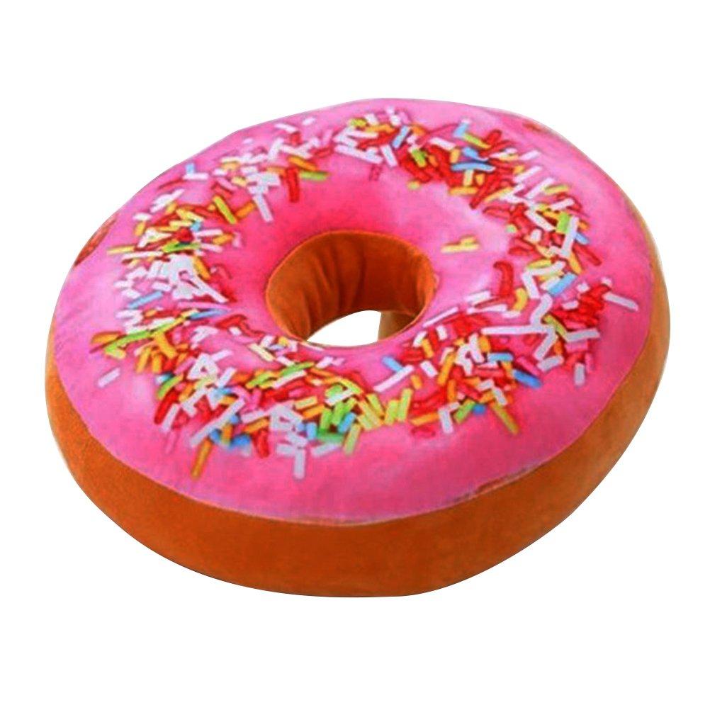 TOYMYTOY Almohada 3D Donut Asiento suave y acogedor Volver Amortiguador de peluche Donut Throw Pillow Plush Toy para la sala de estar Dormitorio Decoración para el hogar 40cm (Rainbow Icing Sugar)