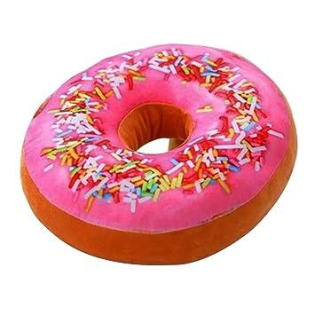 TOYMYTOY 3D Donut Almohada Asiento suave y acogedor atrás cojín relleno Donut Throw Pillow felpa de juguete para la sala de estar dormitorio decoración para ...