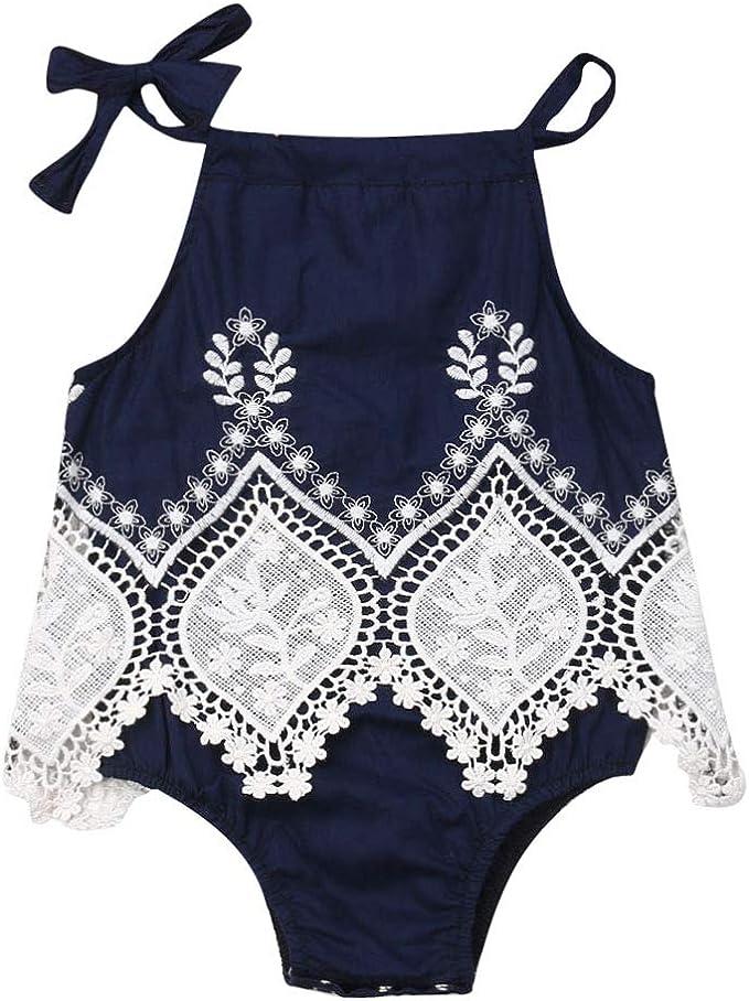Amazon.com: Bebé recién nacido niña verano ropa halter ...