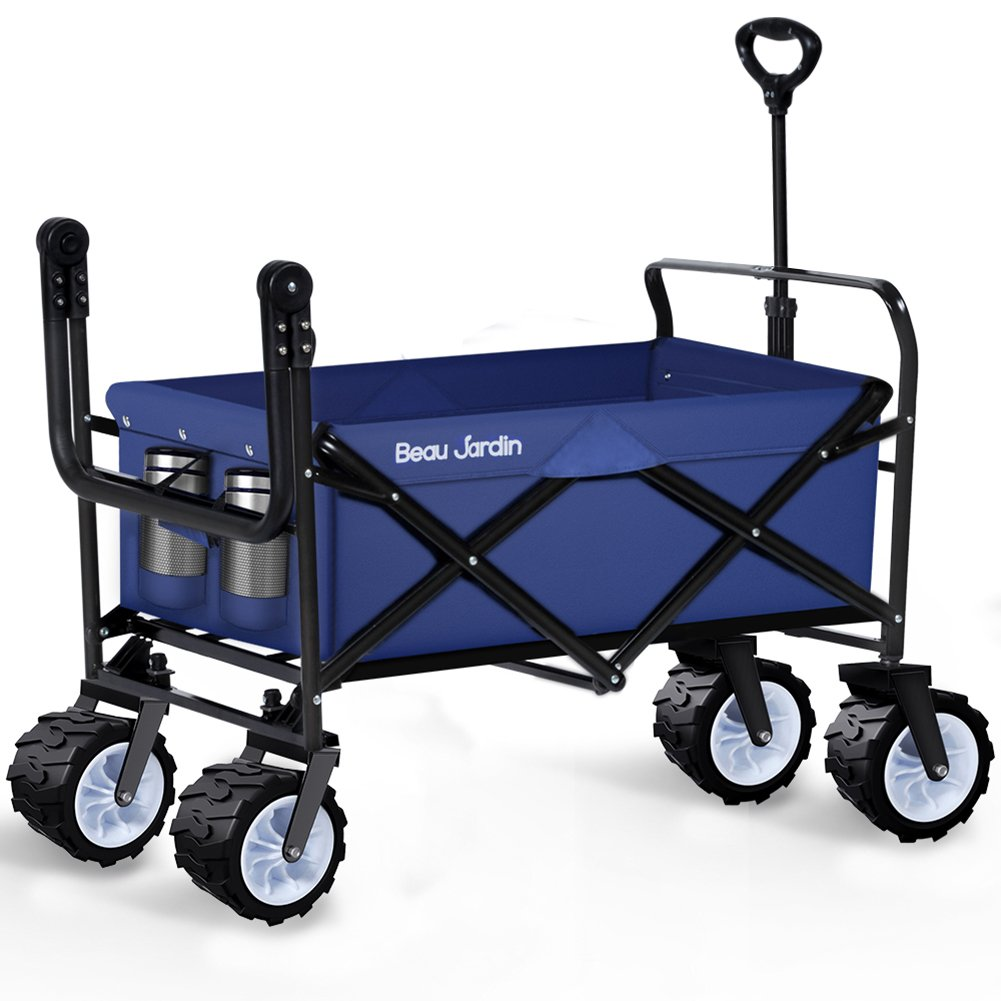Folding Wagon Cart Collapsible Utility Camping Grocery Canvas Fabric Sturdy Portable Rolling Lightweight Beach Sand Buggies Outdoor Garden Sport Picnic Heavy Duty Shopping Cart Wagons With Wheels Blue by BEAU JARDIN