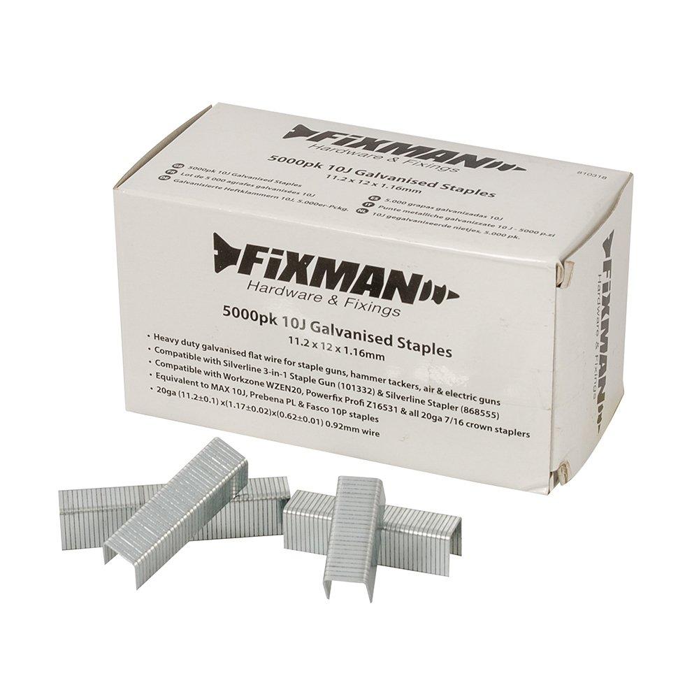 Fixman 810318 10J- Grapas galvanizadas (11,2 x 12 x 1,16 mm, 5000 unidades)