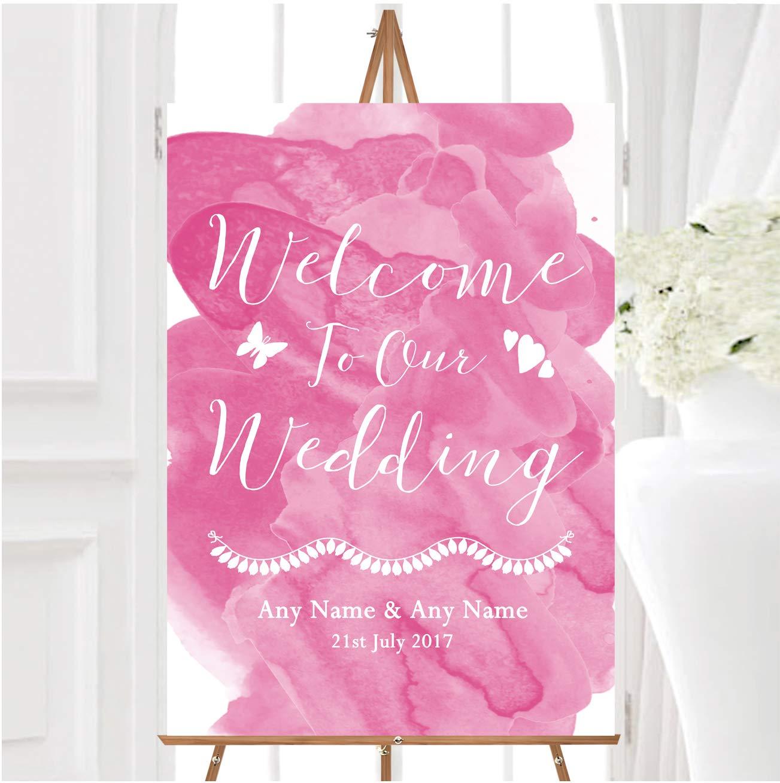 Cartel de bienvenida a nuestra boda con texto en inglés ...