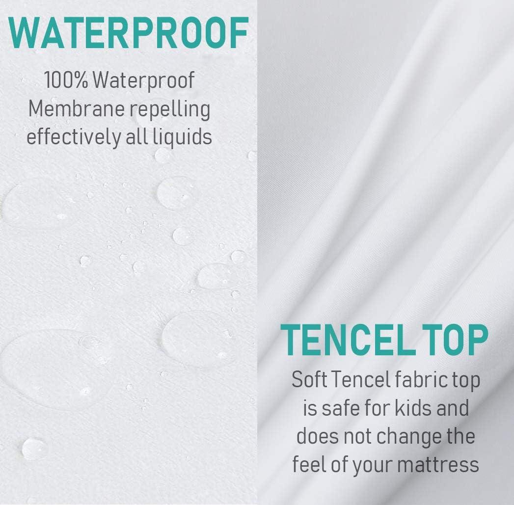 135 X 190//200 CM Transpirable Y Antibacterianas ABEIG BASICS ?? Protector Colchon Tencel Impermeable Tacto Fresco y Regula la Temperatura Corporal