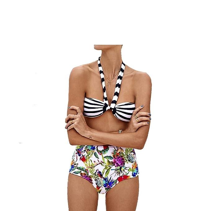 36e2acff2c Amazon.com: Sexy Bikini Black and White Striped Drape Top High Waist Floral  Bottom Trendy Swim Suit: Clothing