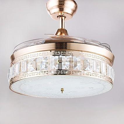 Huston Fan 42 Inch Gold Indoor Modern Crystal Chandelier
