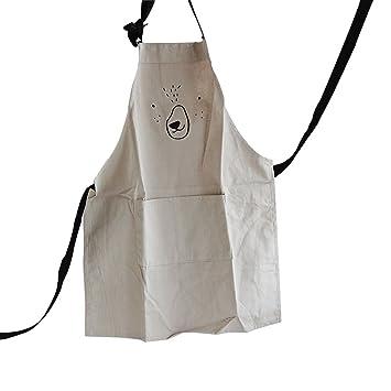 ounona ajustable Chef delantal de cocina con bolsillo para adultos niños casa cocina horno para hacer