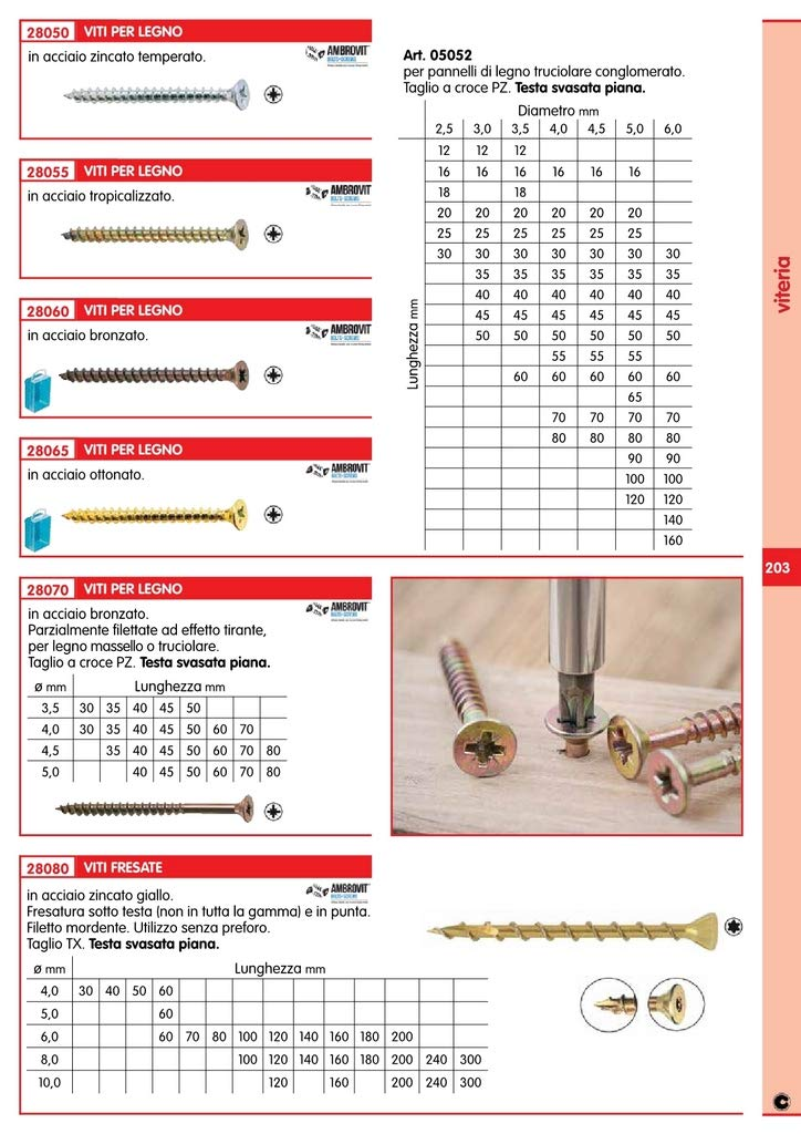 VITI A LEGNO TESTA SVASATA PIANA BRONZATE 4,5X50 Cartomatica Confezione da 200PZ