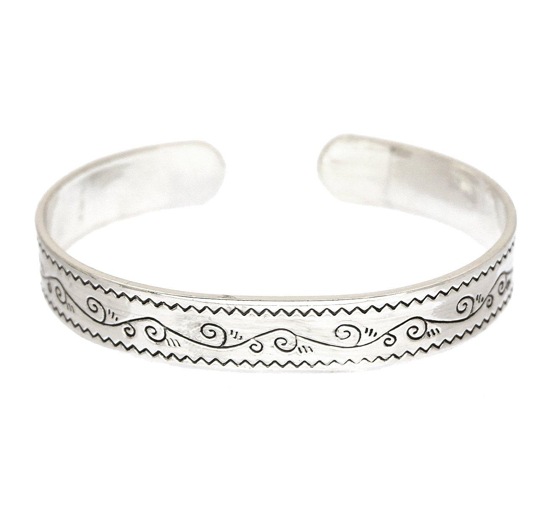 Silver plated brass cuff inspirational bracelet secret message underside BLESS THIS WOMAN