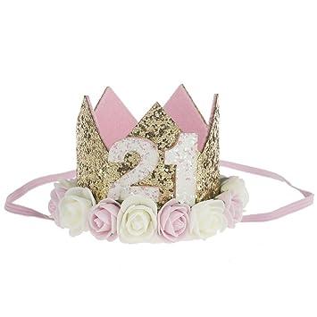 Amazon.com: Corona de flores diadema de cumpleaños – 21st ...