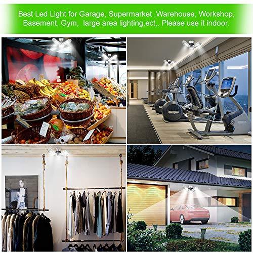 Led Deformable Radar Garage Light Motion Activated Ceiling: Led Garage Lights 80W 8000LM,Deformable Garage Light,Led