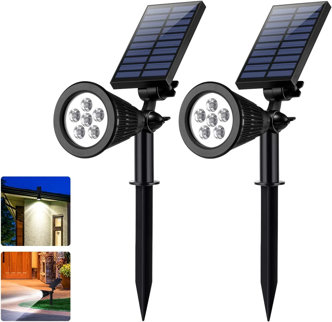 Sunix Solar Spotlights, Outdoor Solar Powered 6 LED Adjustable Spotlight Wall Light Landscape Light Bright and Dark Sensing Auto On Off Security Night for Yard Garden Driveway Pathway Pool, 2 Pack