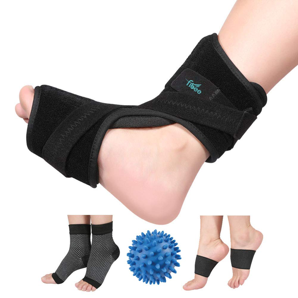 Plantar Fasciitis Night Splint for Plantar Fasciitis Pain Relief Sleep Support, Adjustable Dorsal Drop Foot Orthotic Brace for Women and Men Fits Right or Left Foot with Arch Support Socks by fibee
