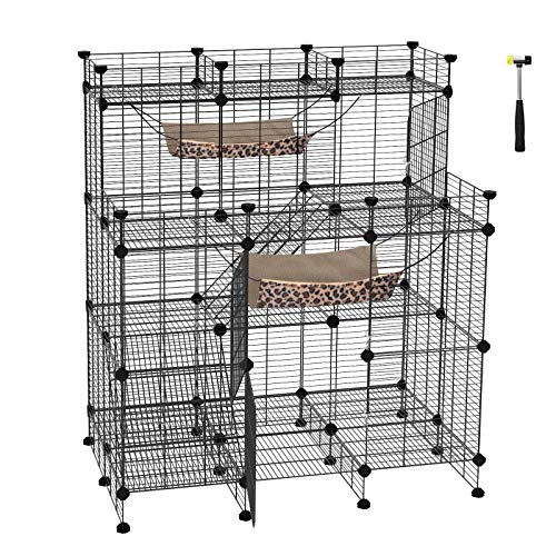 Small Pals Pen (SONGMICS Multi-Tier Cat Playpen,Cat Cage, Cat Condo, Large Customizable 3-Door Wire Pet Home, with Hammocks, Balcony, Ramps, Doors and Locks, Black ULPI04H)