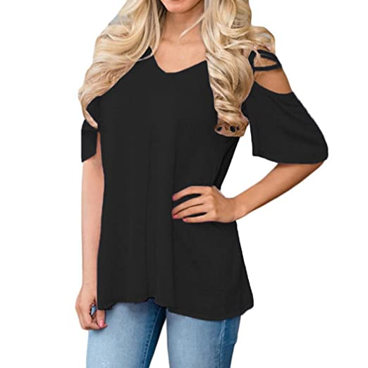 9238f571577189 BCDshop Clearance!Women Cold Shoulder Tops Short Sleeve Casual Solid Blouse  Summer T-Shirt
