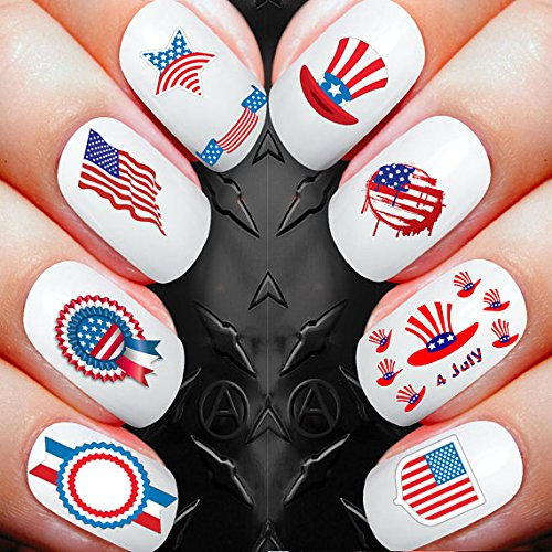 Nail Decals x 30 nail art set waterslide nail decals - American flag 4th july celebrations Assortment! - Salon Quality Nail Decals -