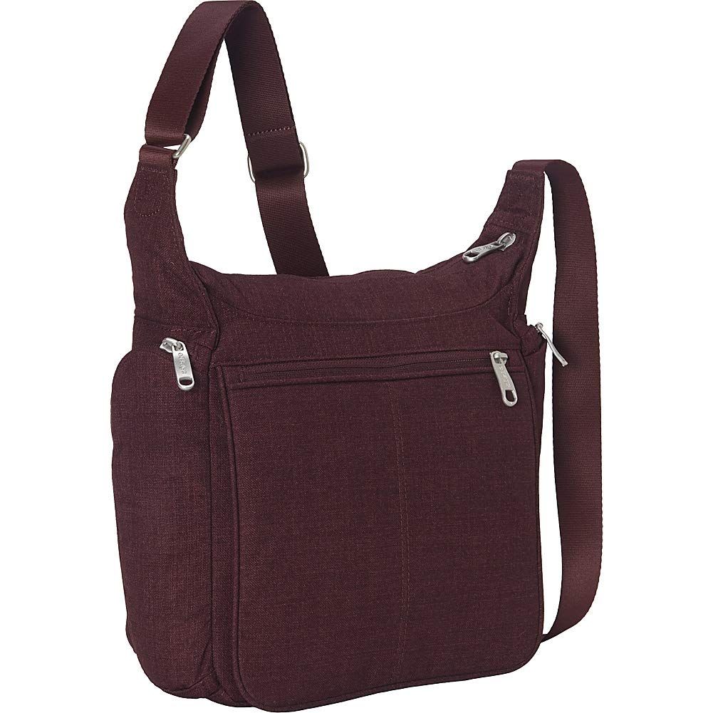 eBags Piazza Daybag 2.0 with RFID Security - Small Satchel Crossbody for Travel, Work, Business - (Garnet)