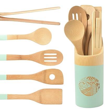 Amazon Com Organic 6 Piece Bamboo Cooking Serving Utensils Set