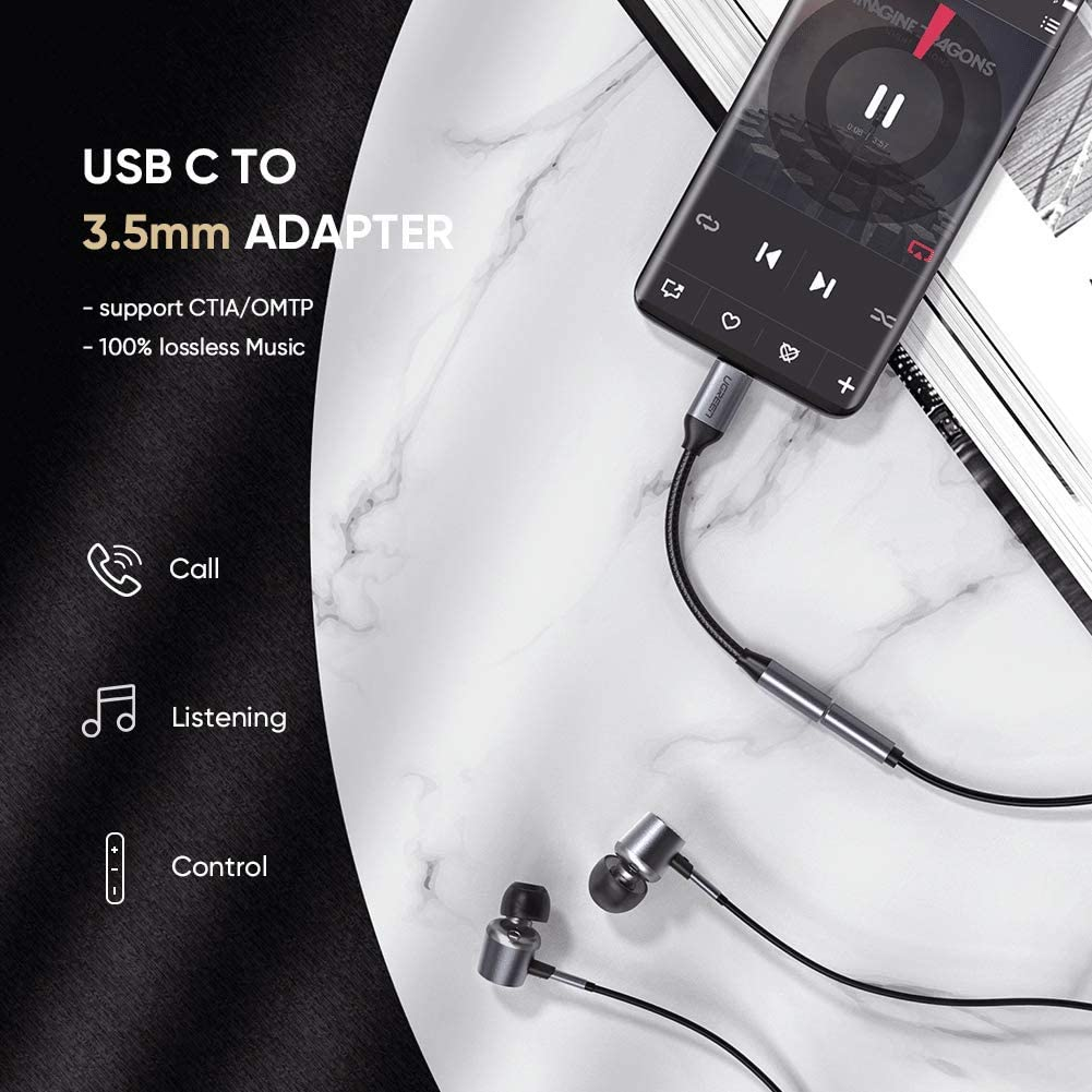 2S Mate20 Pro 6 UGREEN USB C to 3.5mm Headphone Jack Adapter Aluminum Type C to Aux Female Audio Adapter Cable Dongle Compatible for Huawei Mate10 Pro 6X P20 Pro Mix 2 P20 Xiaomi Mi 8