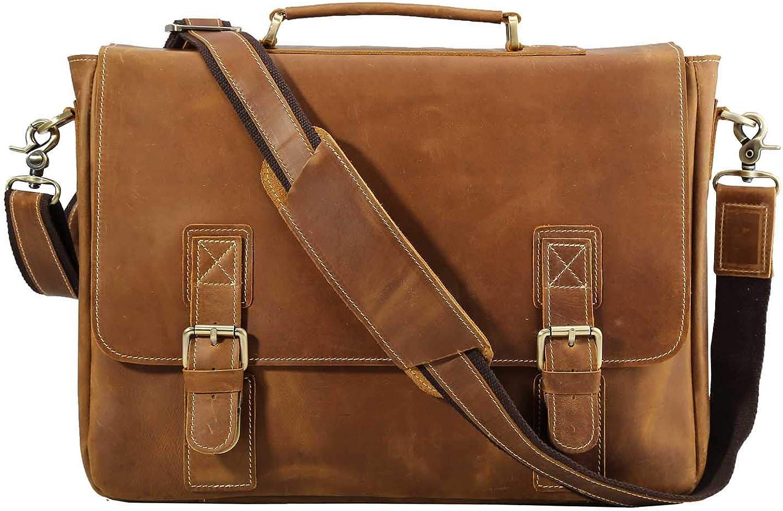 Polare Vintage Genuine Leather Tote Briefcase Professional 16'' Laptop Shoulder Messenger Bag