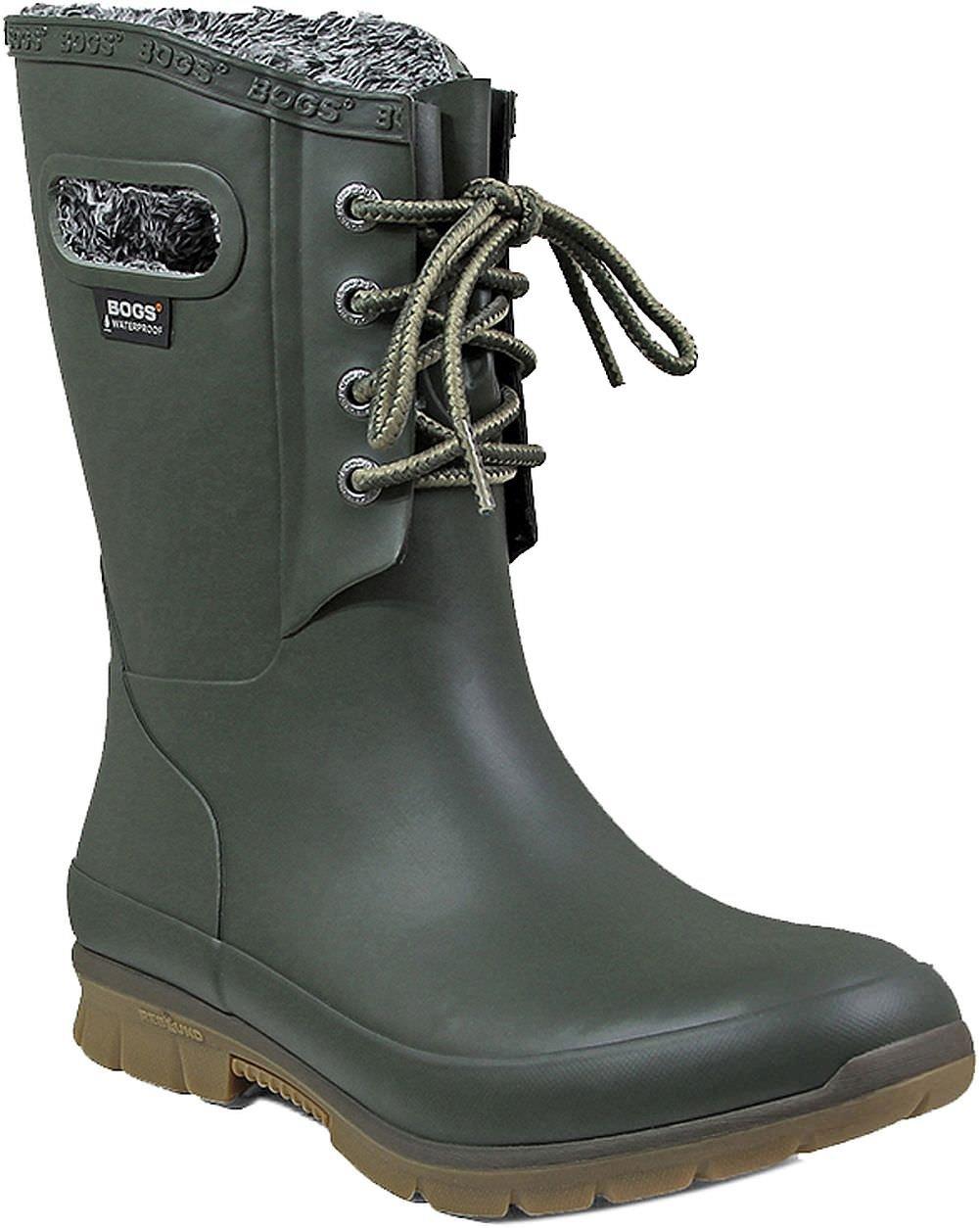 Bogs Women's Amanda Plush Snow Boot, Dark Green, 6 M US