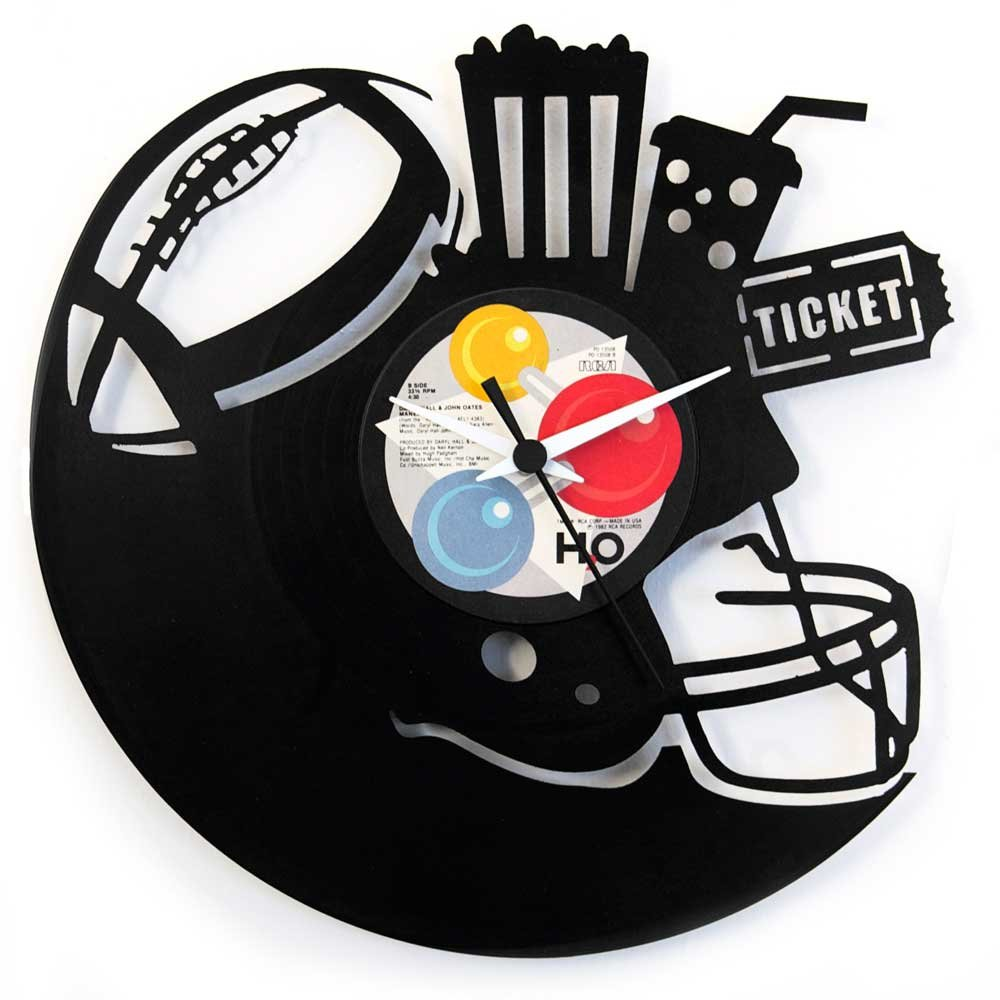 374f8c328ae5e7 Gift for football player Football clock Football Accessories for boys  Football clock gift idea For boys Bedroom clock, Vinyl clock black color  Vinyluse ...