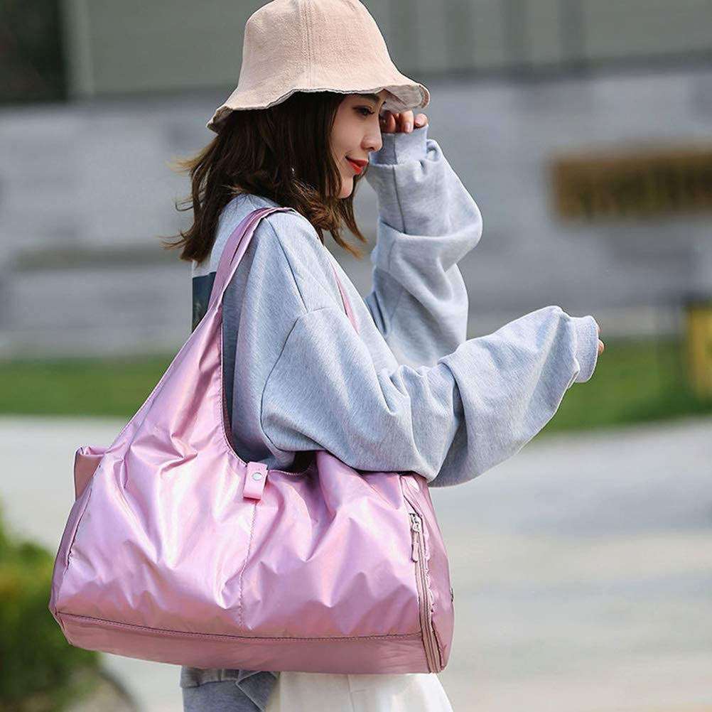 Fashion Laser Pink Gym Bag Travel Large Capacity Carry-on Bag Waterproof Yoga Bag Exercise Shoulder Bag with Shoes Compartment