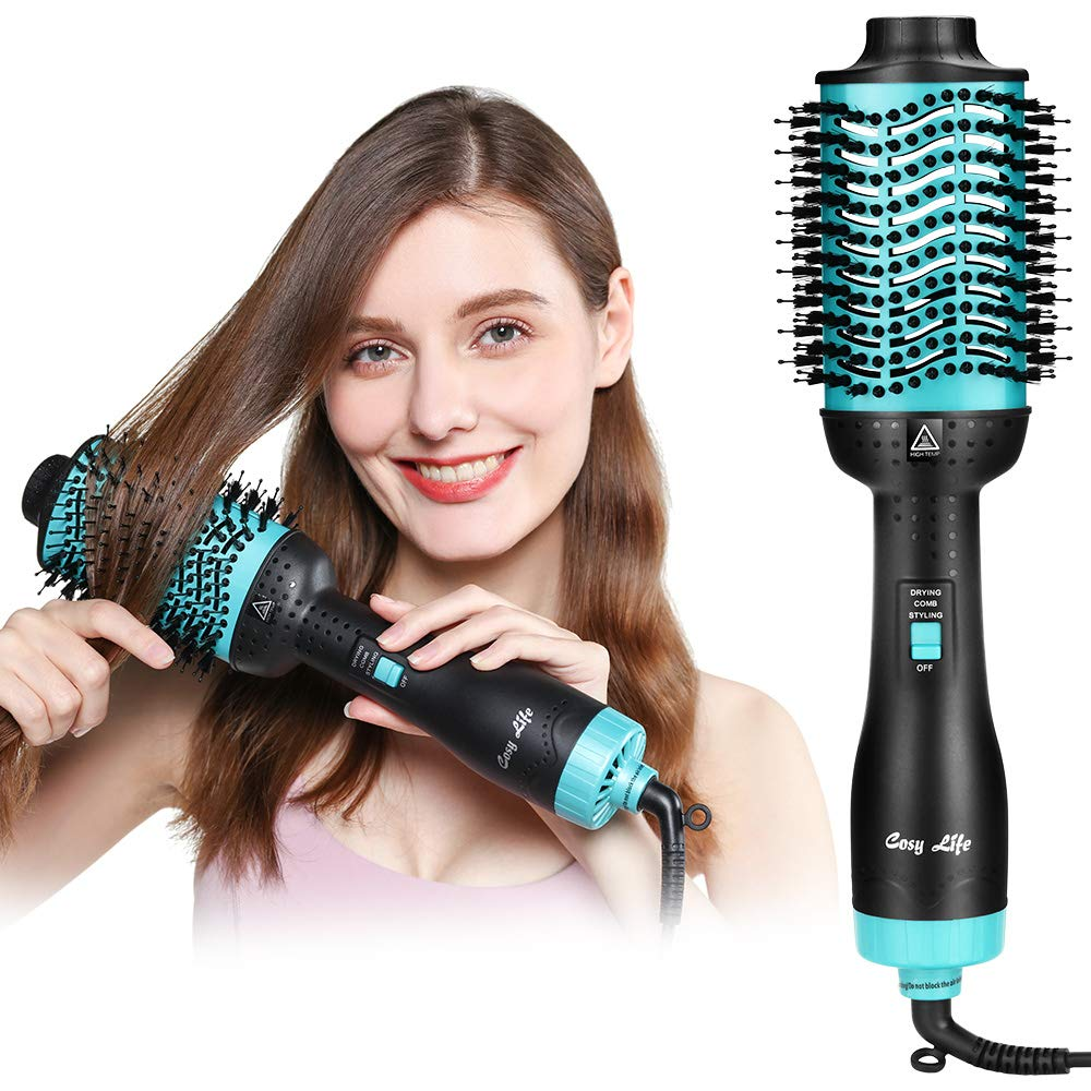 Hair Dryer Brush,Cosy Life Hot Air Brush One Step Hair Dryer & Volumizer Upgraded 5 in 1 Straightener Curler Styler Blow Dry Brush Negative Ion Hair Styling Blow Dryer Brush for Women With Hair Clips