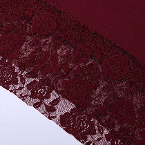 Magliette Bluse Taglie Tops Orlo Lunga Irregolare Rosso Forti Pizzo Donna T Pullover Moda Shirt Camicia Manica Casual pxwnq4HF5