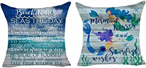 Set of 2 Words Beach Rules Seas The Day Mermaid Kisses and Starfish Wishes Starfish Beach Wave Pillows Cotton Linen Decorative Home Office Throw Pillow Case Couch Cushion Cover 18X18 Inches