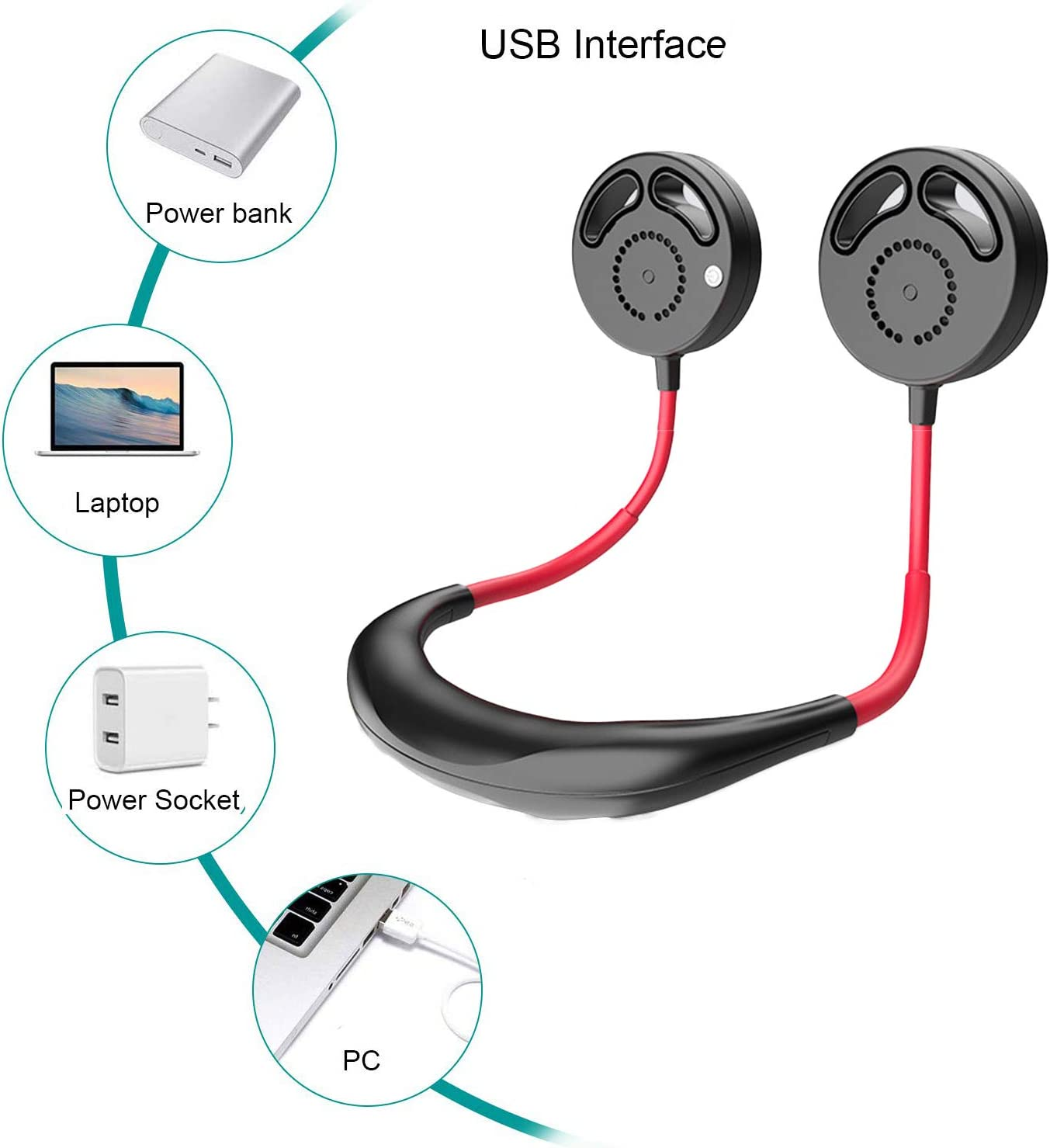Dibiao Hanging Neckband Fan,USB Hands-Free Dual-Head Bladeless Sports Fan for Outdoor Travel Office