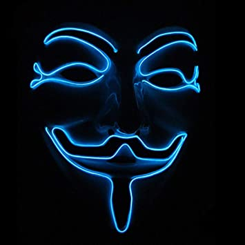 Samtlan Halloween LED Máscaras V Vendetta Mascara con la Brillante Cosplay Disfraz Horror Máscaras para Fiesta