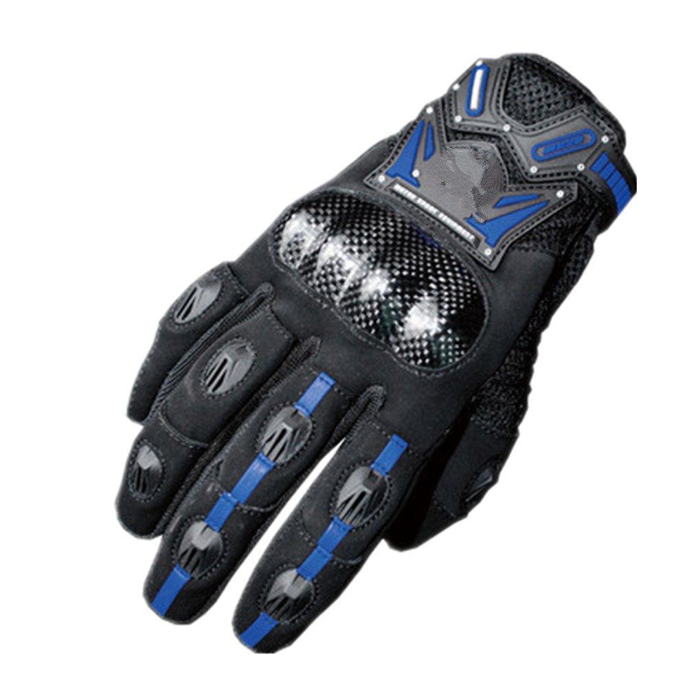 QARYYQ Motorradhandschuhe, Anti-Fall-Kohlefaser-Offroad-Handschuhe, Touchscreen-Handschuhe, Mehrere Farben Handschuh (Farbe   Blau, größe   M)