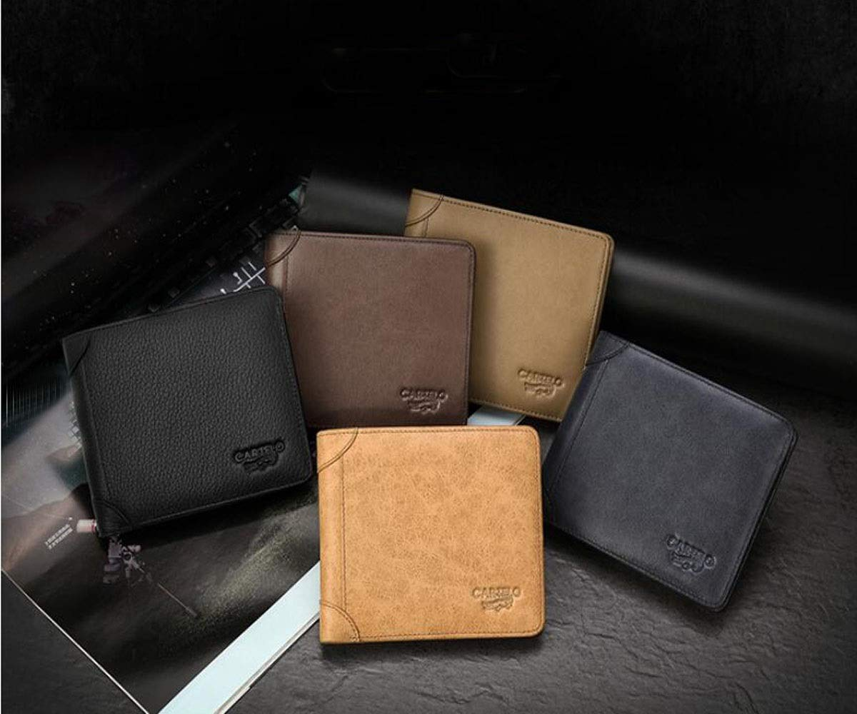 Black Suitable for Mens Fashion Short Ultra-Thin Folding Travel Business Leather Wallet Size, Kalmar RFID Travel Wallet cm Stealth Mode Blocking Leather Wallet 10 2 12 Color
