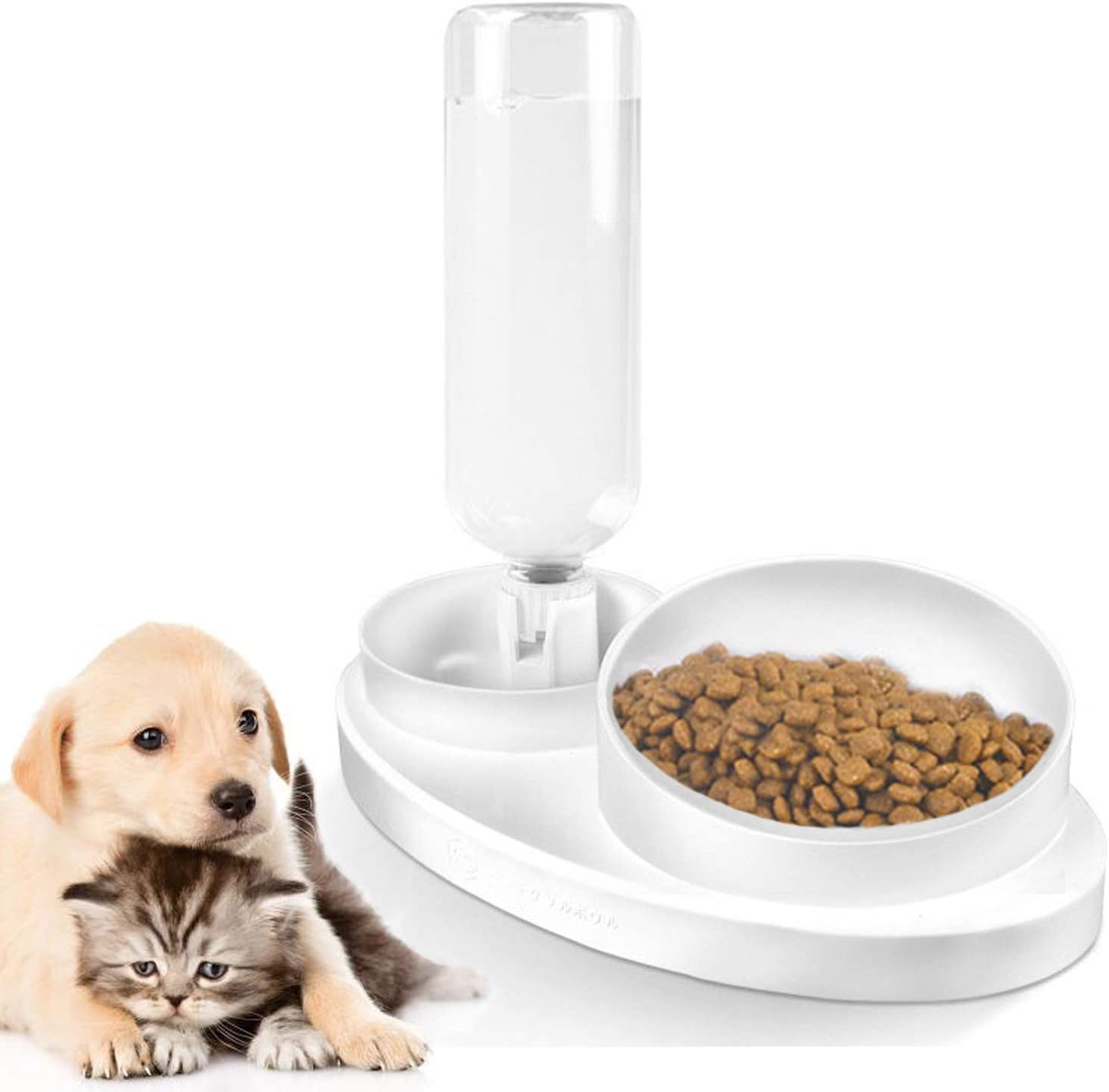 FUNLULA FUNLULA FUNLULA Pets Water and Food Double Bowl Set, Dogs Cats Feeder Bowl and Self-Dispensing Gravity Automatic Waterer Dispenser with Bottle for Dogs Cats Pet Supplies