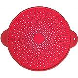 "Silicone Splatter Guard Skillet Pot Pan Cover Strainer Trivet Round 11"" Red"