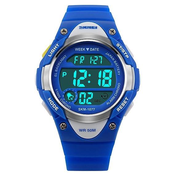 15b27d052ca8 amstt Unisex Deportes Niños Relojes Niño Niña digital impermeable alarma  reloj de pulsera para el Edad
